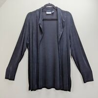 Chicos Travelers Size 3 Jacket Black Cardigan Open Front Slinky Stretch Acetate