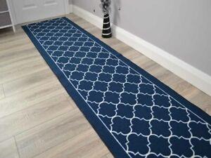 Navy New Trellis Hall Hallway Corridor Wide Narrow Floor Carpets Rugs Cheap