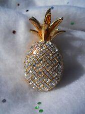 Swarovski® signed Swan Logo crystal pave Pineapple Ananas Brooch Pin goldplated