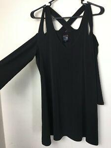 Eva Varro Cold Shoulder Long Sleeve Top Women's Size XL Black