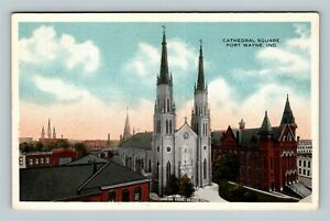 Fort Wayne IN-Indiana, Bird's Eye View Cathedral Square, Church Vintage Postcard