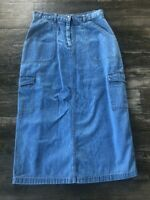 Vintage Long Denim Jean Skirt with Pockets Modest Womens Size 28 Waist x 34 Long