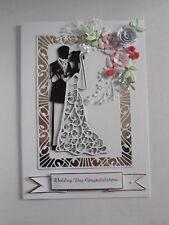Personalised Handmade Luxury Wedding/Anniversary card Bride & Groom with Flowers