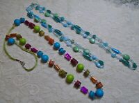 VINTAGE TO NOW ASSORTED MULTI COLOR SHELL GLASS & WOOD BEADED LONG NECKLACE LOT