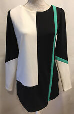 WORTHINGTON Women Career Tunic Color Block Blouse Top Stretch Zip Back Size M