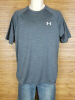 Under Armour Gray Heathered Heat Gear Loose Fit T-Shirt Mens Size Medium M EUC