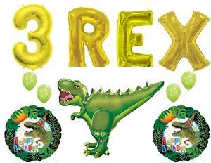 Three 3 Rex Happy Birthday Dinosaur Party Balloons Decorations Supplies
