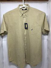 NAUTICA Short Sleeve 100% Cotton Button Down  Shirt SiZE XL -YELLOW, NAVY, WHITE