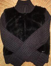 Joop! Jeans Ladies Size Small Jacket Coat Black Rabbit Fur Germany Rare!