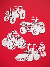 8 Tattered Lace, Diggers, Tractors, Monster Truck & Bike, Die Cuts, White. Set 1