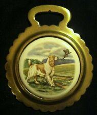 Vintage English Cocker Spaniel Bird Dog Porcelain Harness Brass Wow Your Walls!