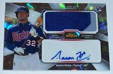 2013 TOPPS FINEST AARON HICKS AUTOGRAPHED/GAME-USED ATOMIC REFRACTOR RC #d 2/5