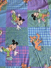 Vtg 90s Disney Mickey Mouse Pluto Duvet Cover Bedding Fabric Rare Sheets
