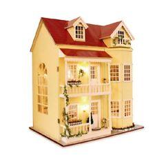 Doll house Miniatures DIY House Kit w/Led Light and Music--Large villa Set