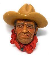 Vintage Bossons chalkware head- RAWHIDE Western Cowboy Congleton, England