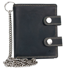 Men's Gray Biker's Genuine Leather Wallet with 20 Inch Long Chain to Hang