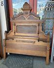 Antique Victorian Bed Headboard Footboard Renaissance Carved Ornate Walnut Tall