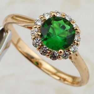 Size 7 8 9 10 Stylish Emerald Green 2.3ct Rose Gold Filled Woman Gift Ring R2033
