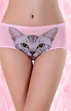 3D Cats Print Underwear Briefs Female Quality Girls Seamless Control Blue Pantie