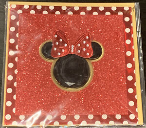 Papyrus Disney Minnie Mouse Bow Glitter Blank Any Occasion Greeting Card