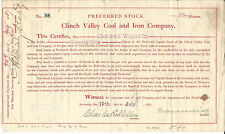 VIRGINIA Clinch Valley Coal & Iron Company Stock Certificate 1887 #98 Richlands