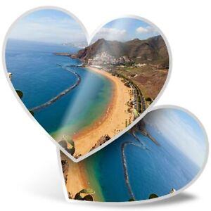 2 x Heart Stickers 10 cm - La Teresitas Beach Tenerife Spain  #16557