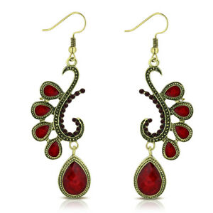 "Fashion Alloy Yellow Gold-Tone Red CZ Drop Dangle Statement Earrings, 2.85"""