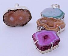 Druzy Colorful Pink Green Huge Crystal Geode Quartz Gemstone Pendant Ring Set