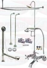 Chrome Tub Mount Clawfoot Faucet Kit W/Shower Riser Enclosure, Drain & Supplies