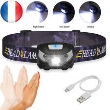 Réglable Projecteur étanche USB Rechargeable LED Lampe Frontale Phare FR