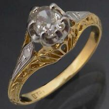Fine Old Antique CUSHION CUT DIAMOND 18k Solid Yellow GOLD SOLITAIRE RING Sz M