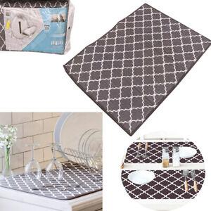 Household Microfiber Dish Drying Mat Pad Kitchen Sink Drainer Towel Tableware UK