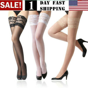 US 6 Pack Women Lace Thigh High Sheer Stockings Shimmery Hosiery Tight Pantyhose