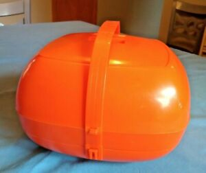Vtg Stacking Picnic Ware Set Basket Orange Plastic Midcentury Plates Utensils