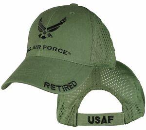 U.S. Air Force Retired Cap / USAF OD Green Mesh Baseball Hat