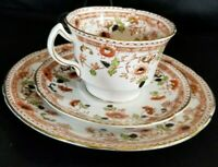Antique Melba Bone China Trio (Art Deco) Imari Style Tea Cup, Saucer, Plate