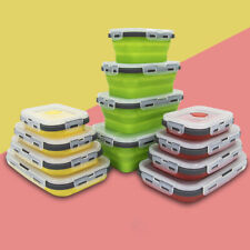 4 Pcs/set Lunch Box Container Silicone Food Snack Storage Collapsible Microwave