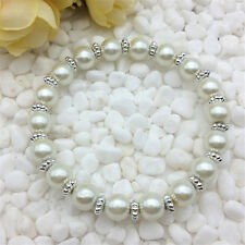 Wholesale fashion jewelry white 8mm glass pearl stretch beaded bracelet DIY