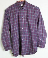 Peter Millar Mens Size XL Purple Red Plaid Button Front Long Sleeve Shirt EUC