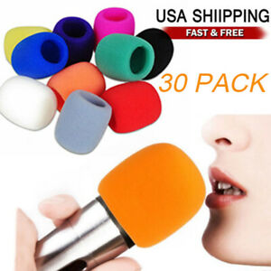30 Pack Handheld Microphone Windshield Wind Shield Sponge Foam Cover Thicken USA