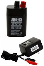 UB5-6S 6VOLT 5AH RECHARGEABLE SEALED LEAD ACID 6V SLA BATTERY W AC WALL CHARGER