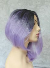 Short Asymetrical Black Lavender Side Part, no Bangs Full Synthetic Wig - COS1