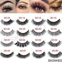 SKONHED 3 Pairs Pestañas Postizas Maquillaje Natural Fibra De Seda 3D