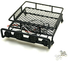 RC 1:10 Roof Luggage Rack w/ LED Light Bar For Wrangler CC01 SCX10 Axial A