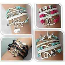 Armband Leder Wickelarmband Damen Armkette Lederarmband Infinity Love Geschenk