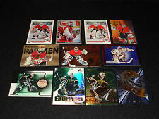 Ed Belfour 11 Card Lot Including UD Rookie Authentic Game Used Stick Goalie Mask