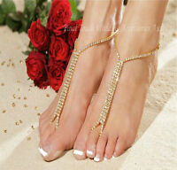 """""""GOLD"""" barefoot beach sandals bridal/wedding diamante anklet foot jewellery"""
