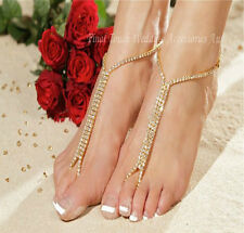 """GOLD"" barefoot beach sandals bridal/wedding diamante anklet foot jewellery"