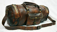 Round Bag Men Duffle Leather Genuine Travel Gym Vintage Large Luggage Brown New