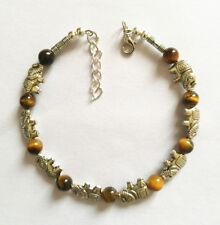 Ladies Bangle Tibetan Silver Asian Elephant Tiger Eye Bead Bracelet Jewelry